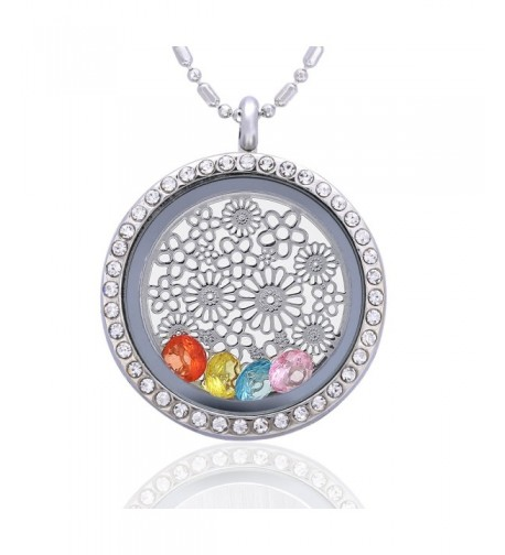 Flower Birthstone Crystal Necklace Friendship