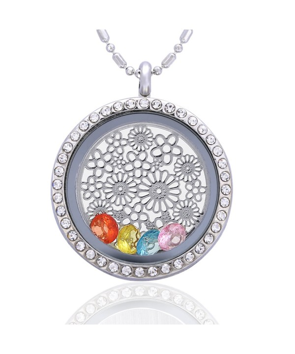 Flower Birthstone Crystal Necklace Friendship