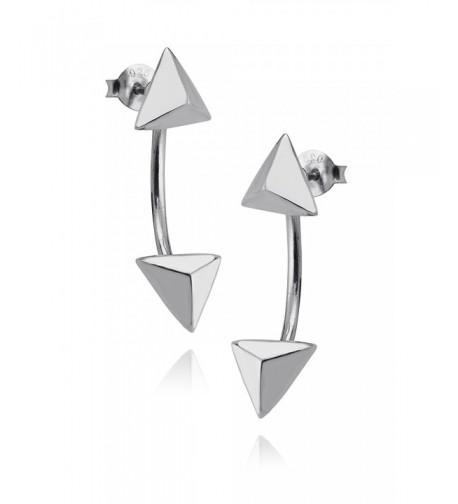 Sterling Silver Triangle Jacket Earrings