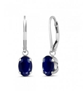 Sapphire Sterling Silver Womens Earrings