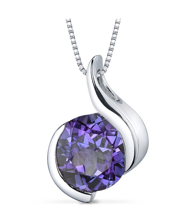 Simulated Alexandrite Pendant Necklace Sterling