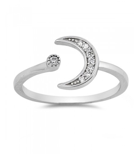 White Cresent Moon Sterling Silver
