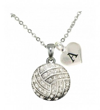Custom Crystal Volleyball Necklace Initial