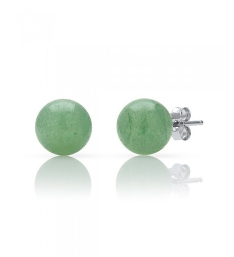 Sterling Silver Natural Green Earrings