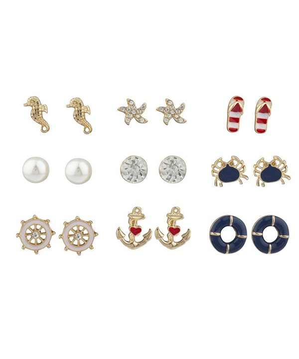 Lux Accessories Crystal Nautical Earring