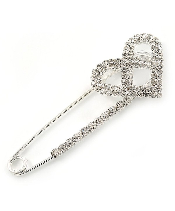 Rhodium Plated Crystal Safety Brooch