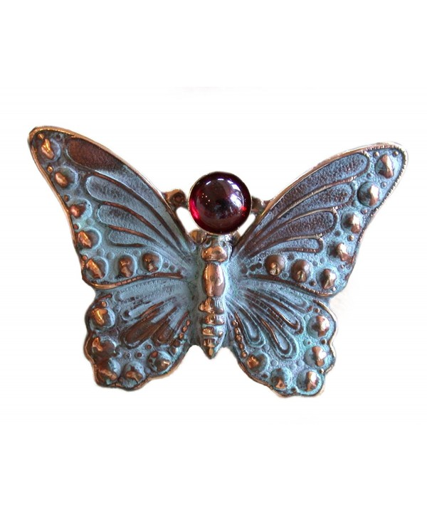 Verdigris Patina Butterfly Pin Garnet