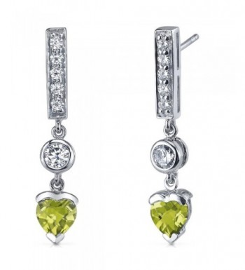 Peridot Earrings Sterling Silver Rhodium