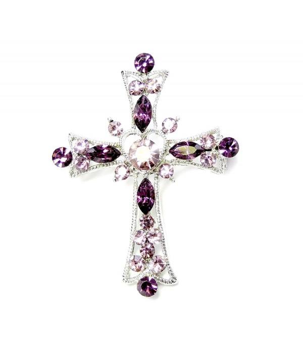 Faship Sparkling Purple Crystal Crucifix