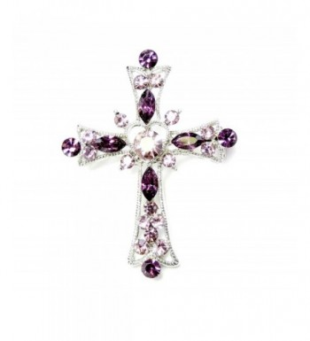Faship Sparkling Purple Crystal Crucifix