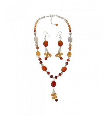 Carnelian Necklace Earrings Dangling Fashion