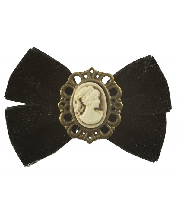 Cameo Brooch Antique Finish Velvet