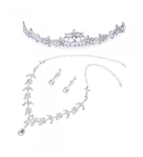 Bridesmaid Wedding Rhinestone Necklace Earrings