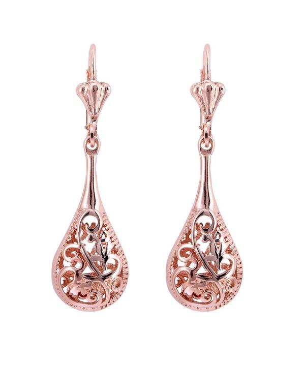 Filigree Teardrop Leverback Earrings Jewelry
