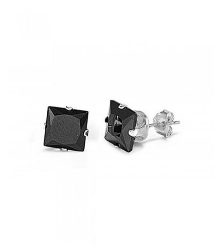 Sterling Silver Square Zirconia Earrings