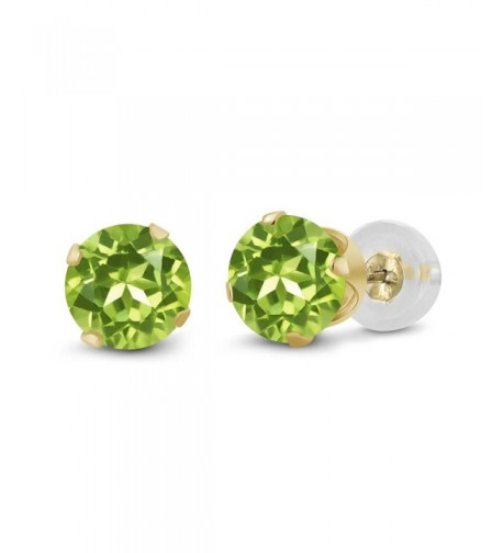 Round Green Peridot Yellow Earrings
