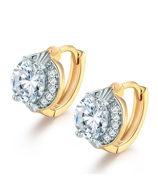 MASOP Solitaire Hinged Earrings Two Tone
