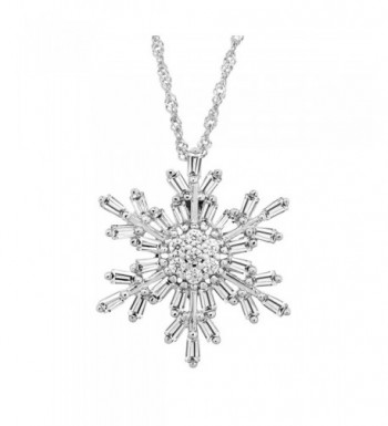 Snowflake Pendant Necklace Zirconia Sterling