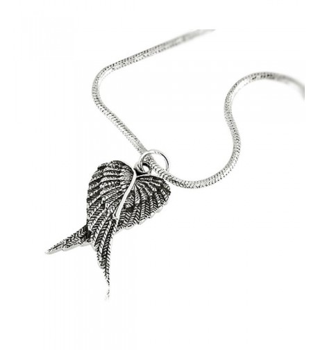 Oxidized Sterling Feather Pendant Necklace