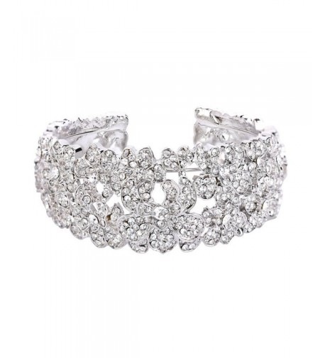BriLove Bohemian Crystal Bracelet Silver Tone