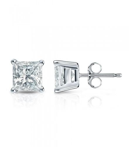 Sterling Simulated Princess Diamond Earrings