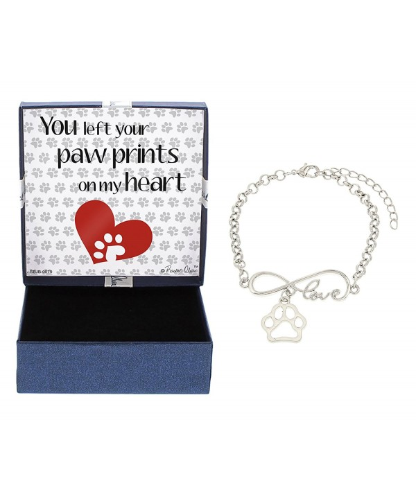Bracelet Silver Tone Pawprint Jewelry Gift