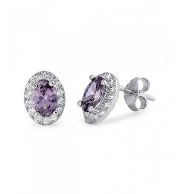 Earring Simulated Purple Amethyst Sterling