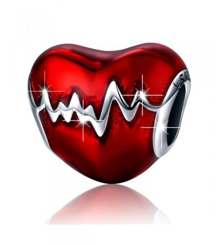 BAMOER Sterling Silver Heartbeat Enamel