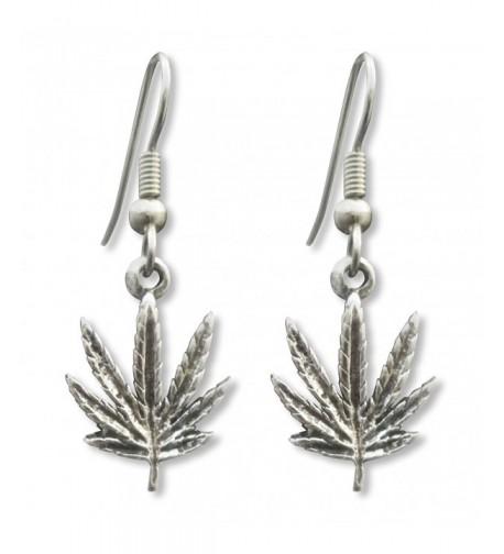 Marijuana Dangle Earrings Antique Silver