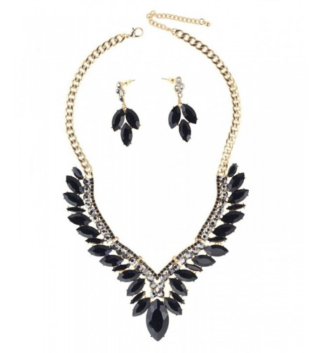 Pattern Marquise Dangling Necklace Gold Tone