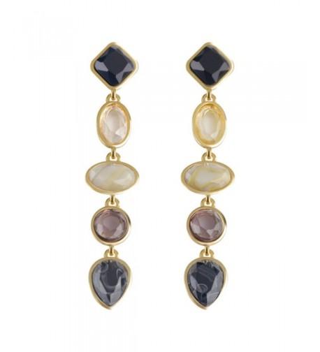 Silver Earrings Colorful Crystal Elegant