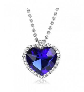 Ocean Heart Pendant Necklace Crystal