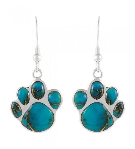 Turquoise Earrings Sterling Silver Genuine