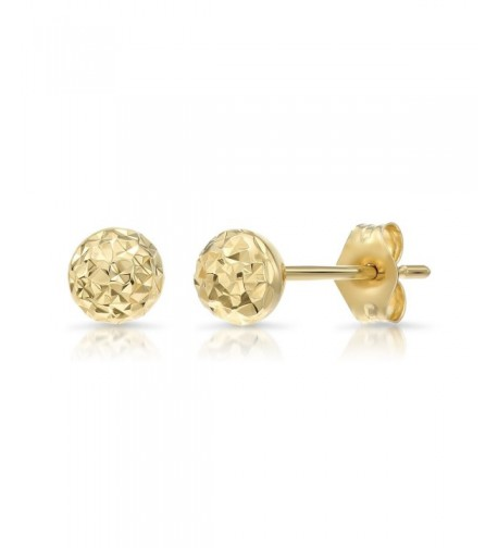 Yellow Gold Diamond cut Ball Earrings
