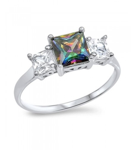 Rainbow Simulated Statement Sterling Silver