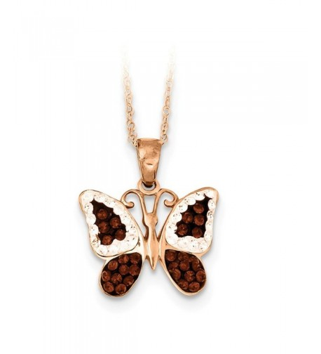 Sterling Gold Plated Chocolate Butterfly Necklace