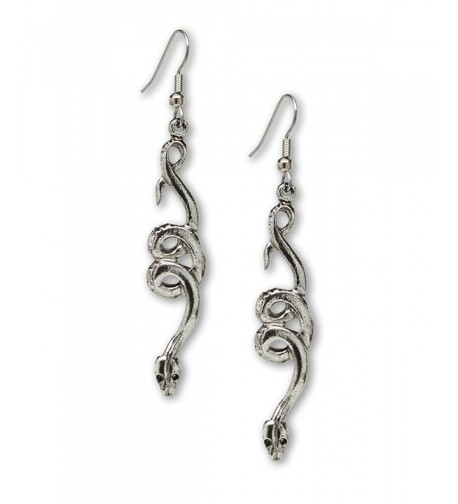 Coiled Snakes Serpents Silver Earrings