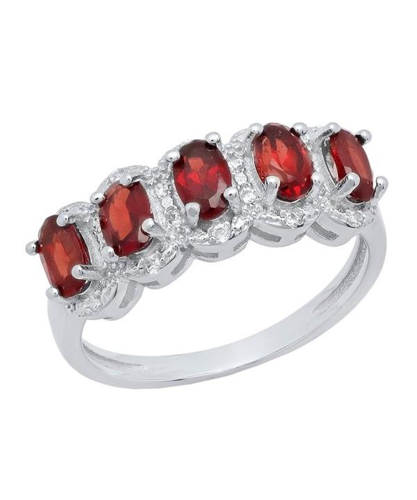 Sterling Silver Garnet Diamond Engagement