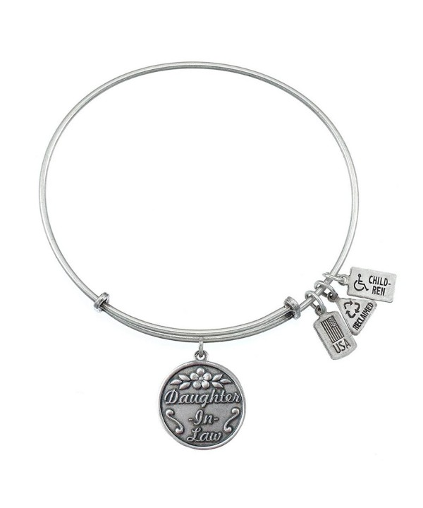 Daughter Charm Bangle Silvertone Finish