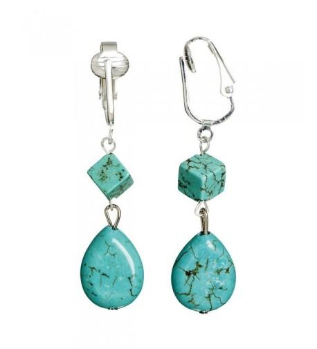Turquoise Clip Earrings Teardrop Teardrops