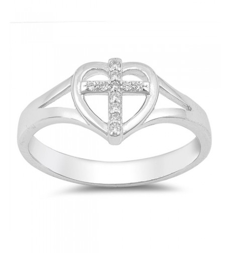 Clear Cross Christian Sterling Silver
