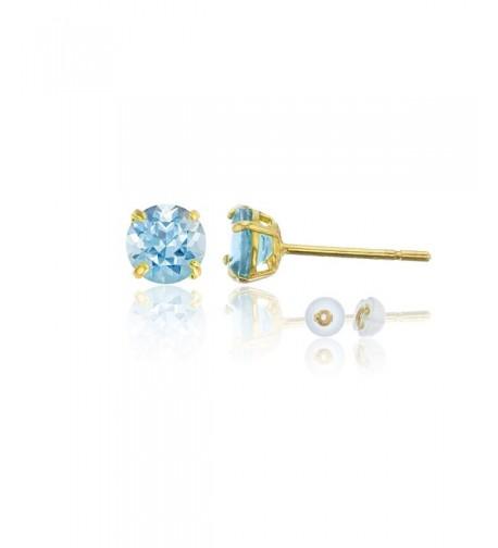 Yellow 4 00mm Round Aquamarine Earring