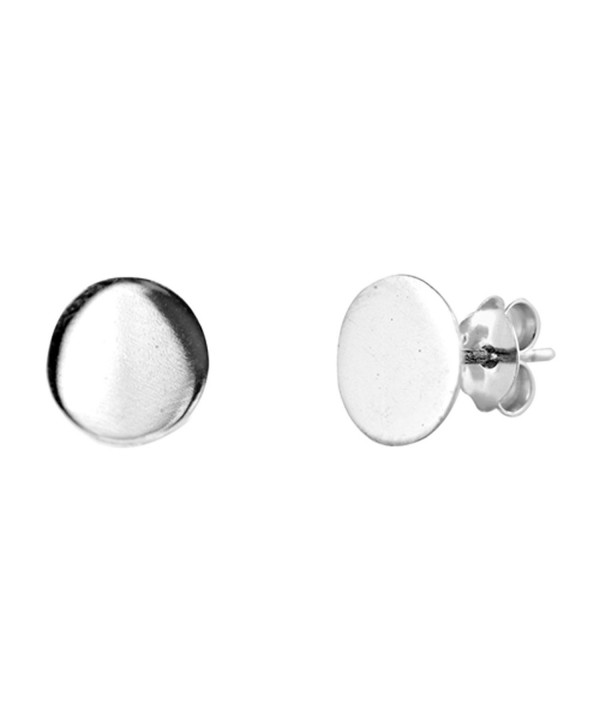 dd85ef658 Minimalist Flat Circle Plain .925 Sterling Silver Simple Stud ...