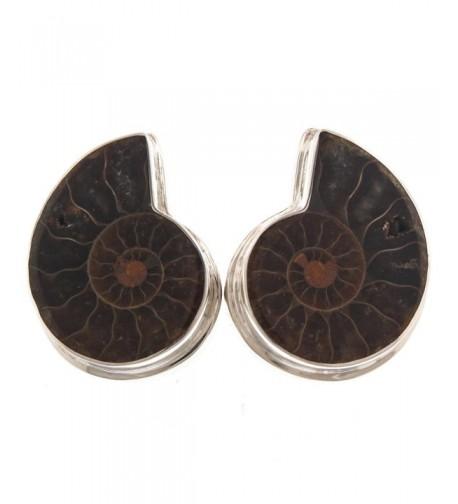 Sterling Natural Madagascar Ammonite Earrings