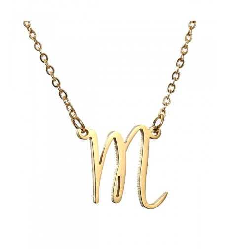 AOLO Gold Initial Necklace Alphabet