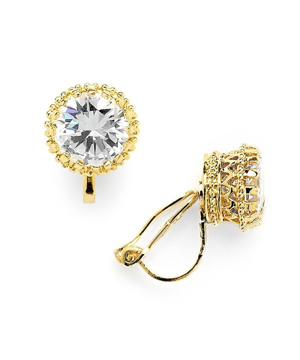 Mariell Plated Setting Zirconia Earrings