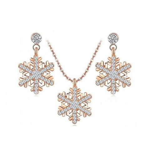 Womens Earring Necklace Zirconia Snowflake