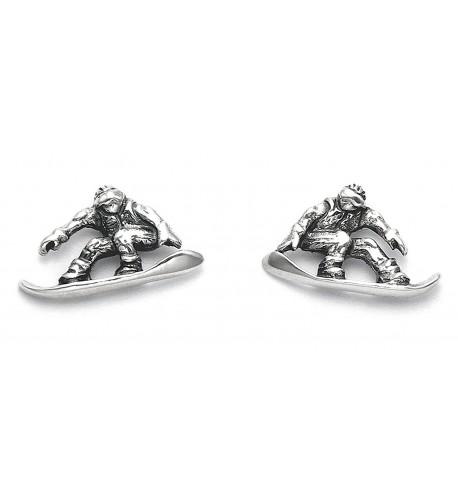 Sterling Silver Snowboarder Stud Earrings