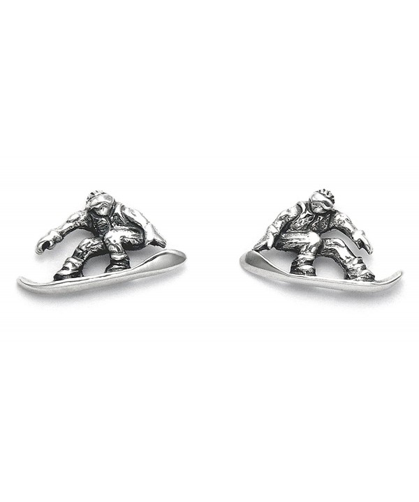 Sterling Silver Snowboarder Stud Earrings