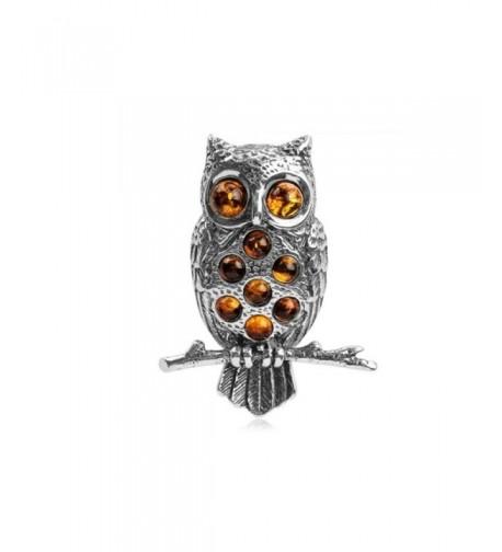 Honey Amber Sterling Silver Owl